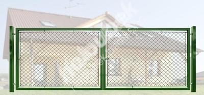 Brána záhradné dvojkrídlové výška 200 x 350 cm zelená na príchytky Exklusiv - Brána exklusiv, pozinkovaná a poplastovaná, systém zavírání záklapkou 200x350 cm.