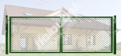 Brána záhradné dvojkrídlové výška 150 x 400 cm zelená na príchytky Exklusiv