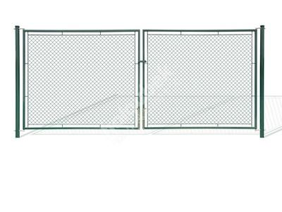 Brána záhradné dvojkrídlové výška 150x360 cm zelená na záklopku - Brána zahradní dvoukřídlá výška 150x360 cm zelená na záklapku