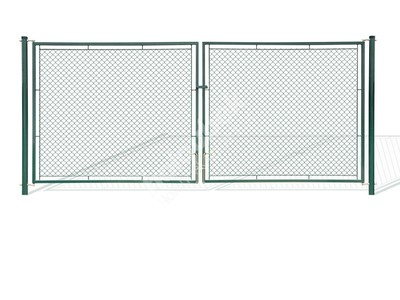 Brána záhradné dvojkrídlové výška 200x360 cm zelená na záklopku - Brána zahradní dvoukřídlá výška 200x360 cm zelená na záklapku