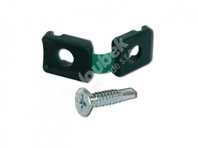 Plotová príchytka plastová so skrutkou - Úchytka certifikovaná plastová zelená s vrutem