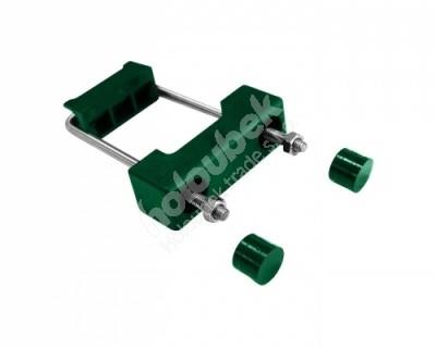 Príchytka z PVC a nerezovej ocele k uchycení panelov k obdĺžnikovým stĺpikom 60x40 mm - Příchytka z PVC a nerez oceli zelená na sloup 60x40 mm