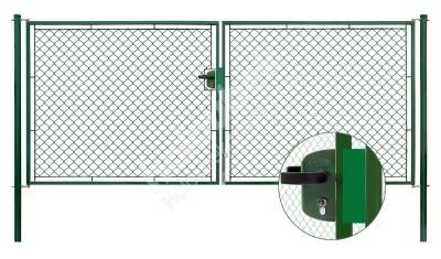 Brána záhradné dvojkrídlové výška 125×360 cm zelená na FAB - Brána zahradní dvoukřídlá výška 125×360 cm zelená na FAB