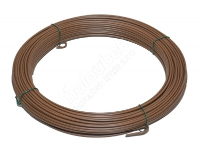 Napínací drôt poplastovaný 2,5/3,5 mm, zvitok 52 m - kopie - Napínací drát poplastovaný 2,5/3,5 mm, svitek 52 m, barva hnědá RAL 8014