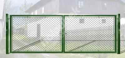 Brána záhradné dvojkrídlové výška 125 x 600 cm zelená na príchytky Exklusiv - Brána exklusiv, lakovaná a pozinkovaná, systém zavírání záklapka, rozměr 125x600 cm.