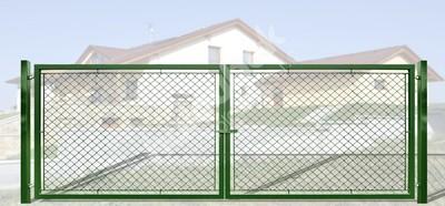 Brána záhradné dvojkrídlové výška 160 x 450 cm zelená na príchytky Exklusiv - Brána exklusiv, lakovaná a pozinkovaná, systém zavírání záklapka, rozměr 160x450 cm.