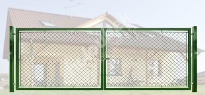 Brána záhradné dvojkrídlové výška 160 x 600 cm zelená na príchytky Exklusiv - Brána exklusiv, lakovaná a pozinkovaná, systém zavírání záklapka, rozměr 160x600 cm.