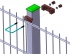 Príchytka z PVC a nerezovej ocele k uchycení panelov k obdĺžnikovým stĺpikom 60x40 mm - Detail uchycení panelu na sloupku pomocí příchytky z PVC a nerez oceli